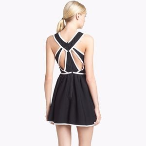 Keepsake Black & White Piped Cut-Out Mini Dress